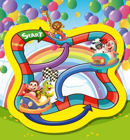 Modèle de jeu avec des animaux en voiture de course vecteur