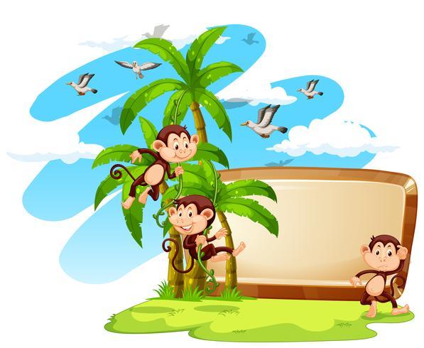 Signer avec des singes et cocotier vecteur