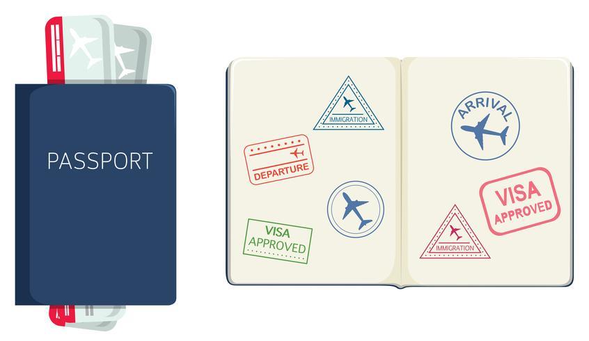 Passeport sur fond blanc vecteur