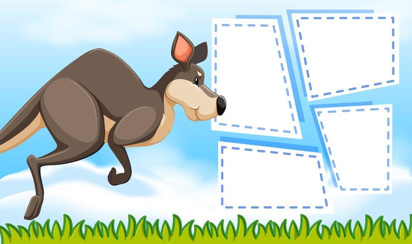 Kangourou sur modèle de note vecteur