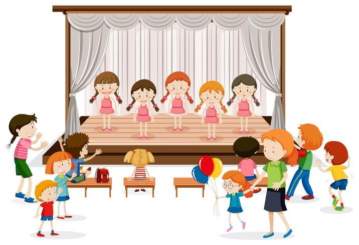 Groupe de fille spectacle sur scène vecteur