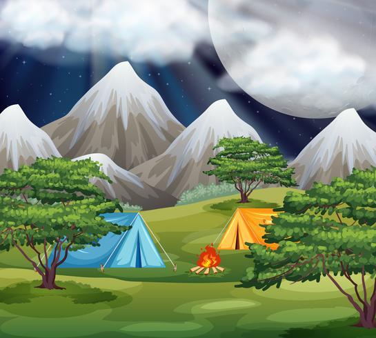 Camping dans la scène du parc vecteur