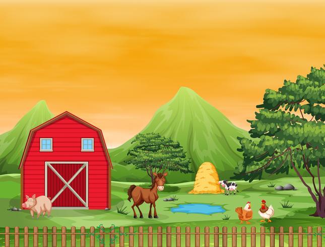 Un beau paysage agricole vecteur