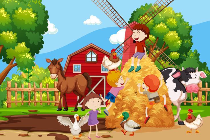 Scène de la ferme avec tous les animaux vecteur