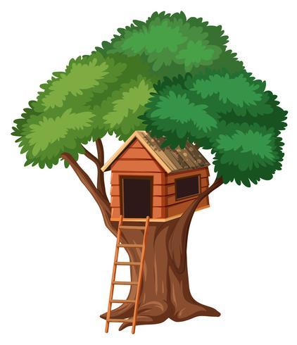 Maison dans les arbres isolée sur fond blanc vecteur