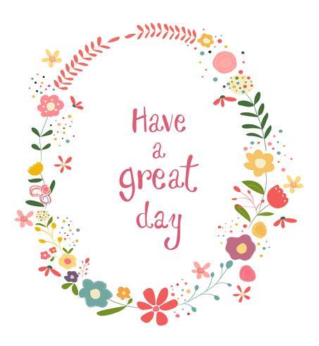 cadre de fleurs pastel coloré avec mots de bonne journée vecteur