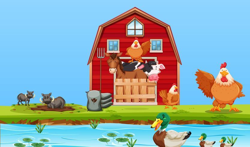 Scène d'animaux de ferme heureux vecteur