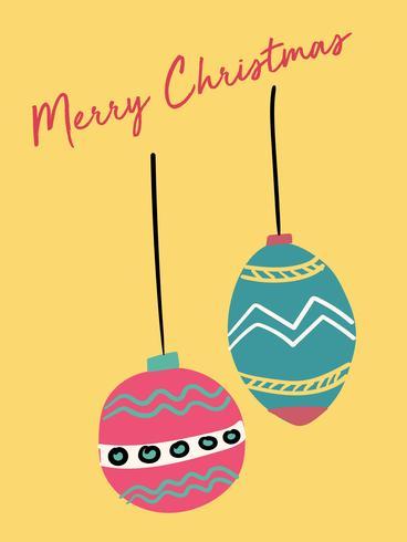 Carte de Noël vecteur plat mignon boule vintage festive