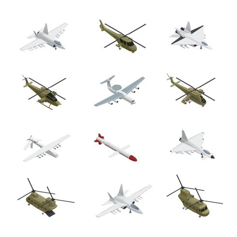 Jeu d'icônes isométrique de l'armée de l'air militaire vecteur