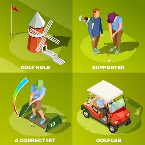 Concept de design isométrique Golf 2x2 vecteur