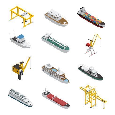 Mer et rivière navire isométrique Icons Set vecteur