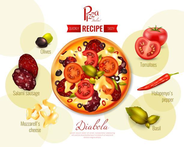 Illustration de recette de Pizza Diabola vecteur