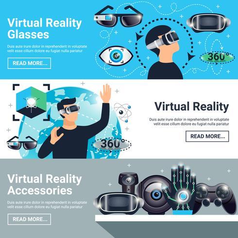 Ensemble de bannières de réalité virtuelle vecteur