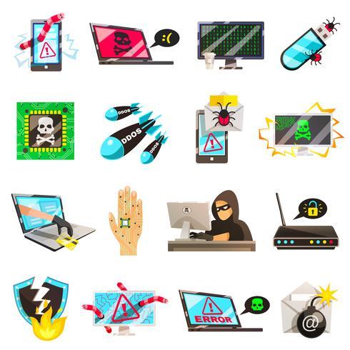 Collection d'icônes criminelles informatiques vecteur