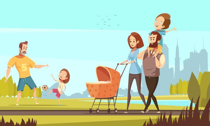 Illustration de famille rétro bande dessinée en plein air vecteur