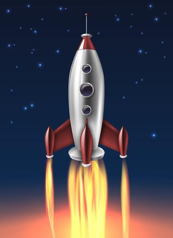 Affiche de fond de lancement de fusée en métal réaliste vecteur