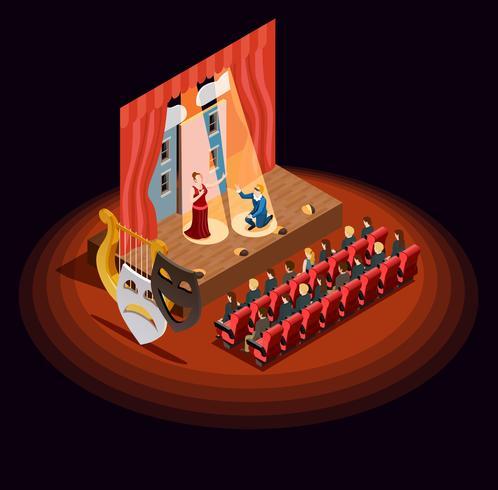 Théâtre Auditorium Composition isométrique vecteur