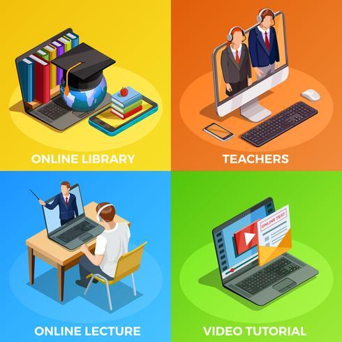 Concept de design d'éducation à distance vecteur