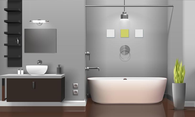 Design intérieur de salle de bain moderne réaliste vecteur