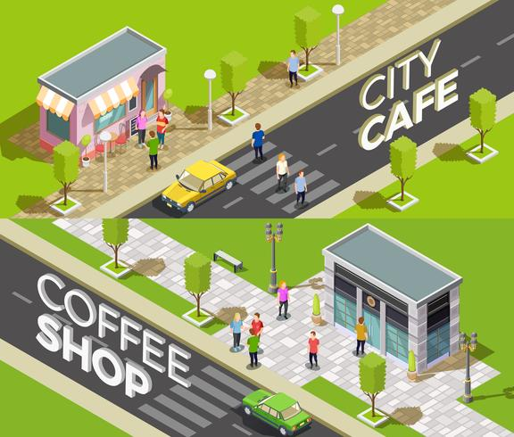 Bannières isométriques de café urbain vecteur