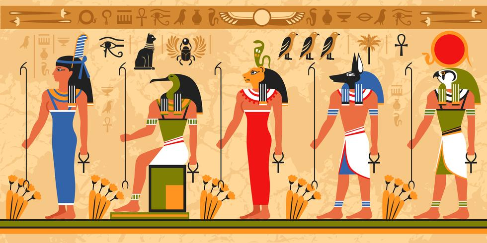 Motif de bordure colorée sur le thème de l'Égypte vecteur