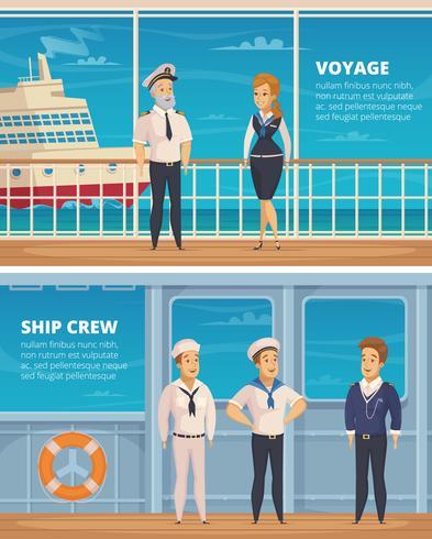 Bannières de dessin animé de personnages d'équipage de navire vecteur