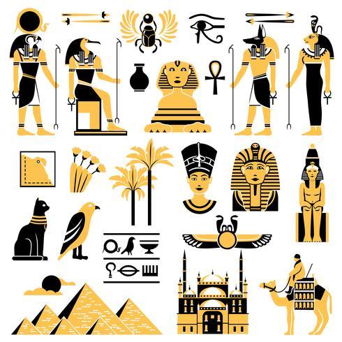 Set d'icônes décoratifs symboles Egypte vecteur
