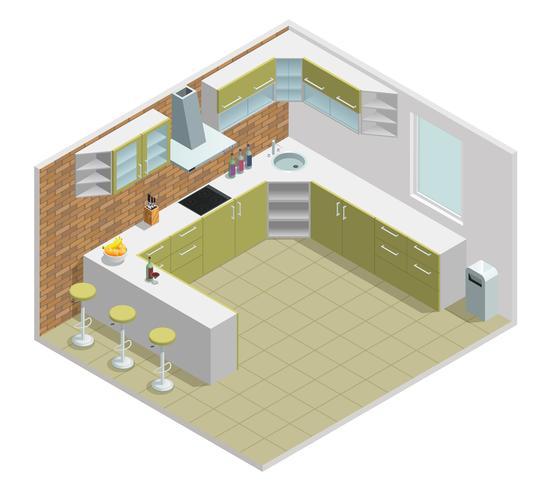 Design isométrique intérieur de cuisine vecteur