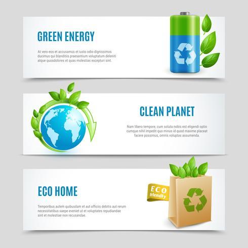 Bannières horizontales d'écologie dans la conception de papier vecteur