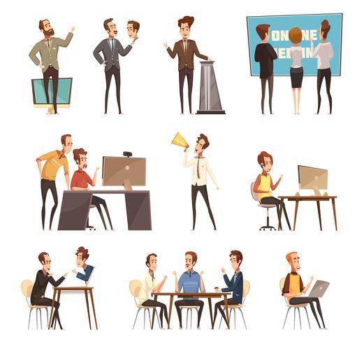 Ensemble d'icônes de réunion en ligne vecteur