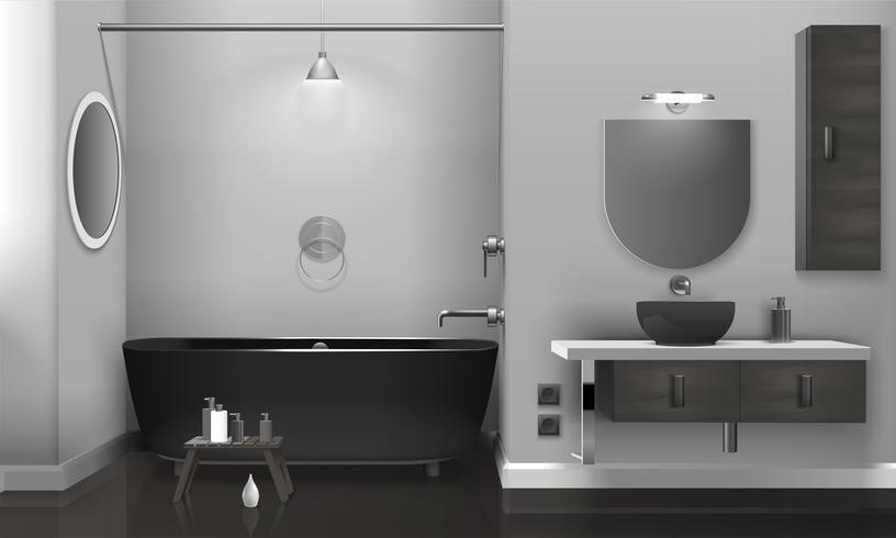 Intérieur de salle de bain réaliste avec deux miroirs vecteur