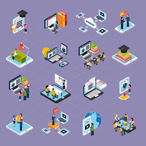 Webinaire Podcasting Icons Set vecteur