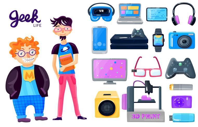 Jeu d'icônes Gadgets de personnage de dessin animé vecteur