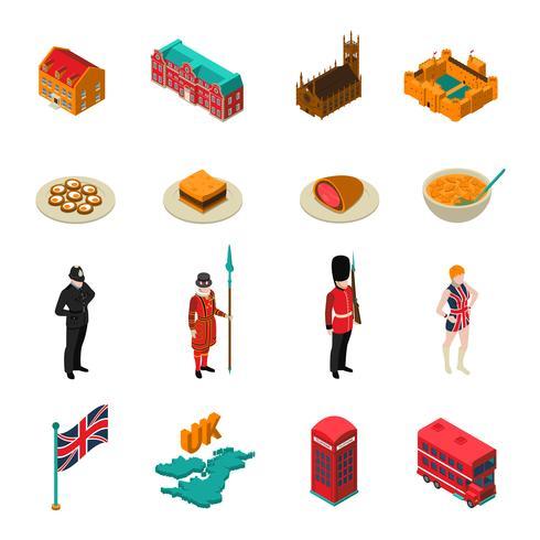Ensemble touristique isométrique de Grande-Bretagne vecteur