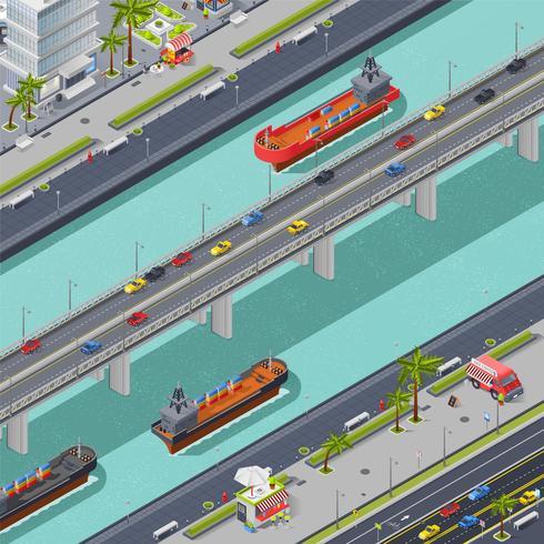 Composition isométrique de ponts en ville vecteur