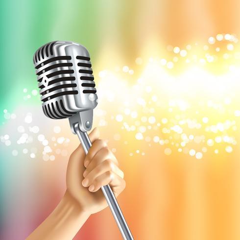 Affiche de fond clair de microphone vintage vecteur