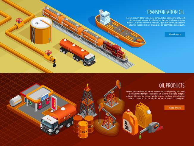 Ensemble de bannières de page Web isométrique pour l'industrie pétrolière vecteur