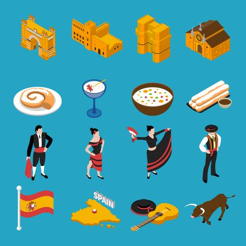 Ensemble d'icônes Espagne vecteur
