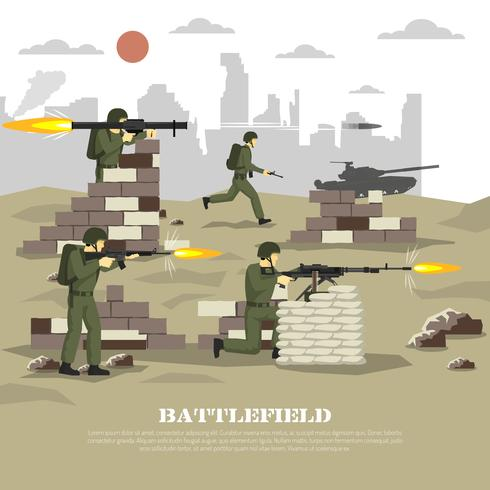 Affiche plate de l'expérience cinématique militaire de Battlefield vecteur