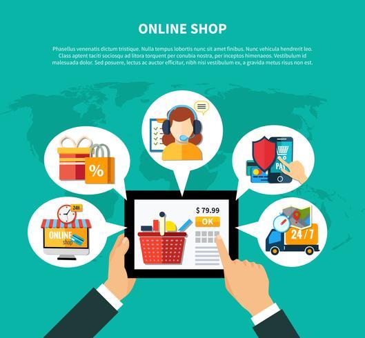 Composition de la boutique en ligne vecteur