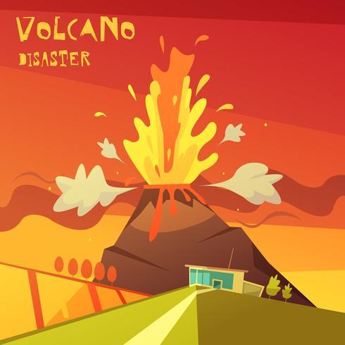 Illustration d'une catastrophe volcanique vecteur
