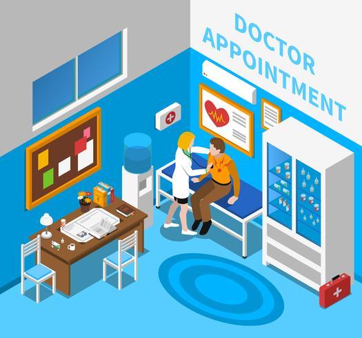 Médecin examine l'affiche isométrique du patient vecteur