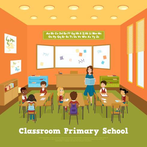 Modèle de classe d'école primaire vecteur