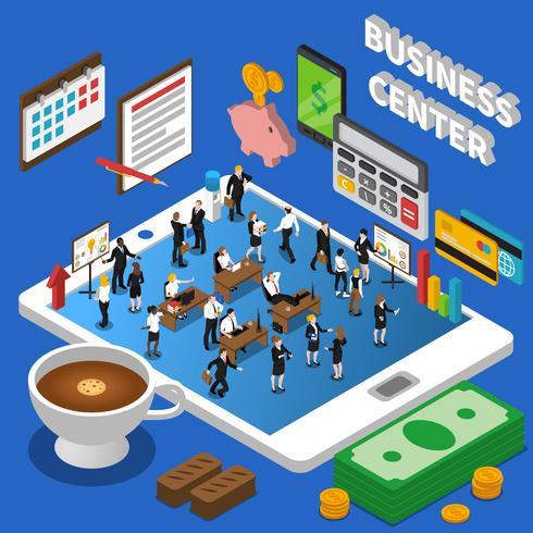 Affiche de composition isométrique du Financial Business Center vecteur