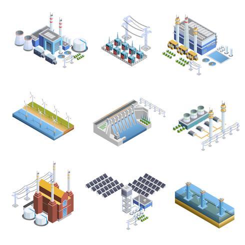 Ensemble d'images de centrales de production d'électricité vecteur