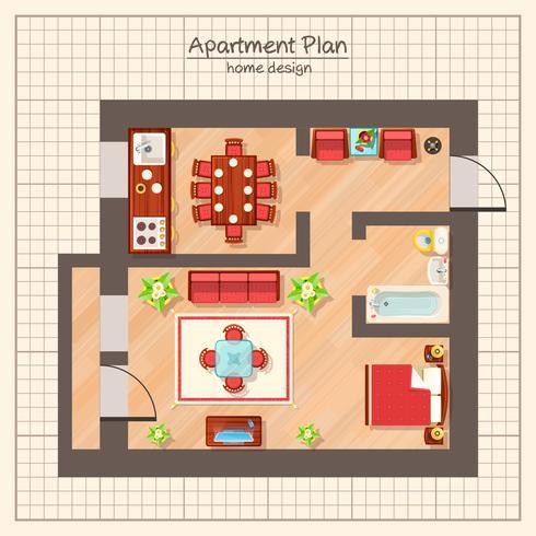 Illustration du plan de l'appartement vecteur