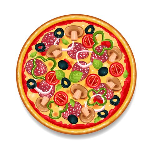 Pizza savoureuse ronde colorée vecteur