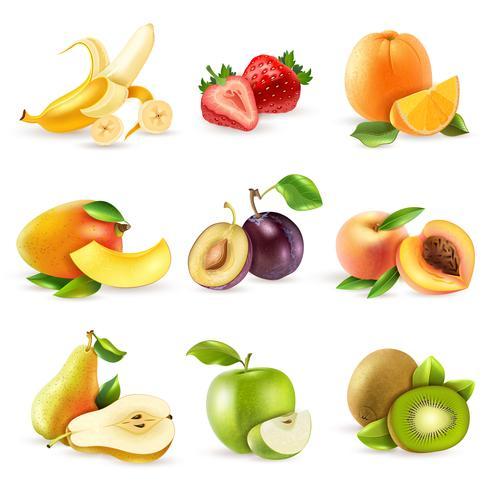 Fruits plats Icons Set vecteur