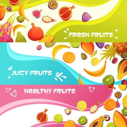 Jeu de bannières horizontales de fruits frais vecteur
