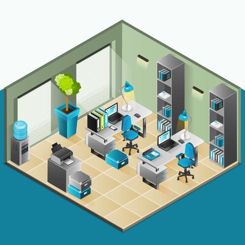 Design isométrique intérieur de bureau vecteur